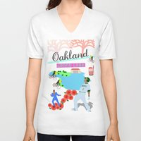 oakland V-neck T-shirts featuring Oakland by June Chang Studio