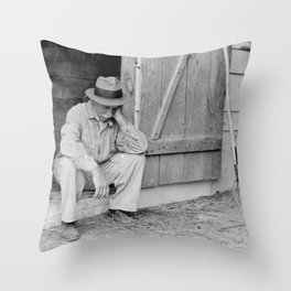 Farmer in Despair Over the Depression in 1932 Throw Pillow