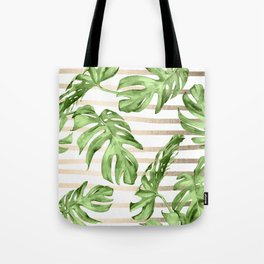 Simply Tropical White Gold Sands Stripes and Palm Leaves Tote Bag