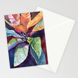 Colorful Tropical Leaves 3 Stationery Cards