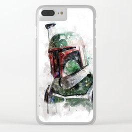 Boba Fett watercolor Clear iPhone Case
