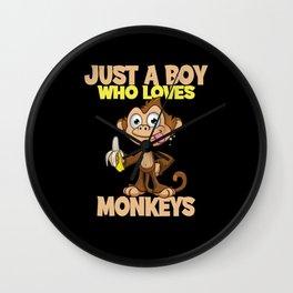 Just A Boy Who Loves Monkeys Monkeys Gift Design Wall Clock