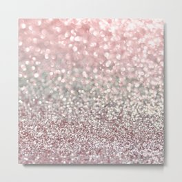 Girly Pink Snowfall Metal Print