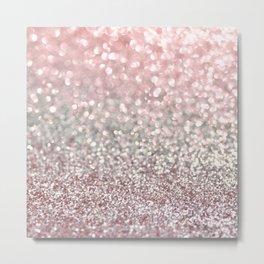 Girly Pink Snowfall Metal Print