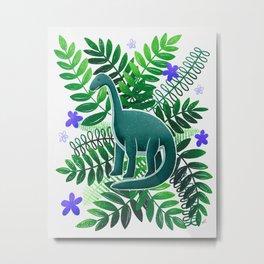 Dinosaur & Leaves - Green & Indigo Metal Print