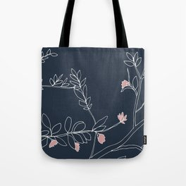 Flora, White and Pink on Navy Blue Tote Bag
