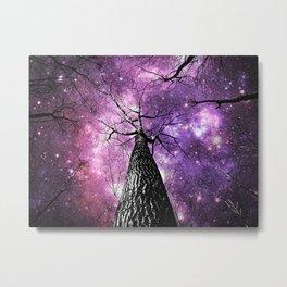 Wintry Trees Pink Purple Galaxy Skies Metal Print
