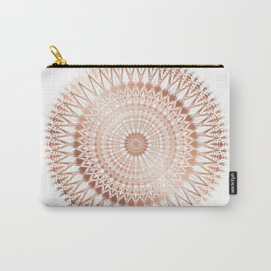 Rose Gold White Mandala Carry-All Pouch