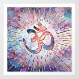 Watercolor OM symbol  with golden accents Art Print