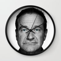 robin williams Wall Clocks featuring Robin Williams by Ionic Slasher