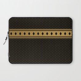 Rich Black Gold Diamond Pattern Design Laptop Sleeve
