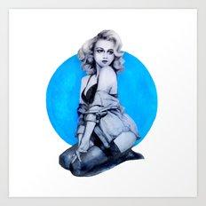 Blue Dot Girl Art Print