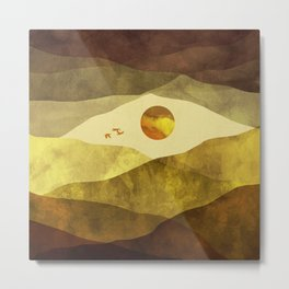 Landscape watercolor with mountains, clouds, sun and birds Metal Print