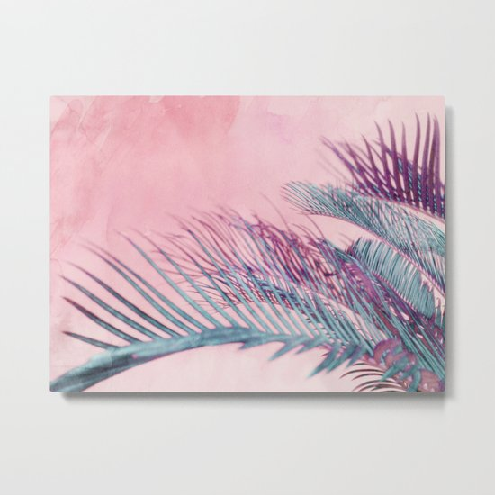 Velvet Pink Palms Metal Print