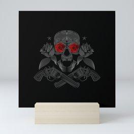 Skull, roses and guns Mini Art Print