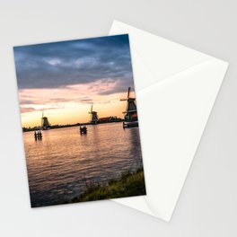 Windmills at sunset Stationery Cards