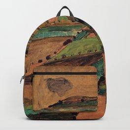 Rolling Plains at Harvest on the tartan hillsides landscape painting by Egon Schiele Backpack