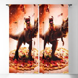 Outer Space Pug Riding Dinosaur Unicorn - Pizza Blackout Curtain