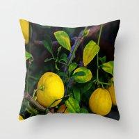berserk Throw Pillows featuring Winter Lemons by oneofacard