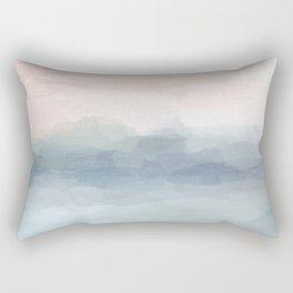 Blush Pink Mint Sky Baby Blue Abstract Ocean Sky Sunrise Wall Art, Water Clouds Painting Rectangular Pillow