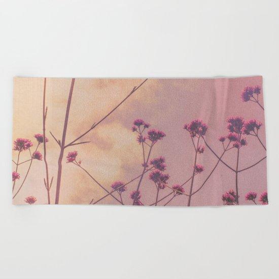 Vintage Pink Wildflowers with Dusty Purple Sky Background Beach Towel