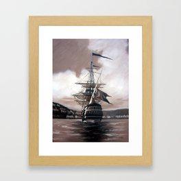 Ship in Sepia Framed Art Print