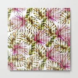 Tropical pink purple sunshine yellow palm tree stripes Metal Print