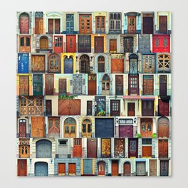 Collage of Kiev front doors,Ukraine Canvas Print