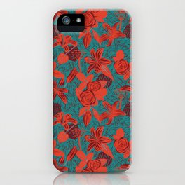 Linocut look in blue with roses iPhone Case