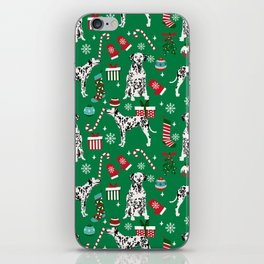 Dalmatian dog breed christmas holiday presents candy canes dalmatians dogs iPhone Skin