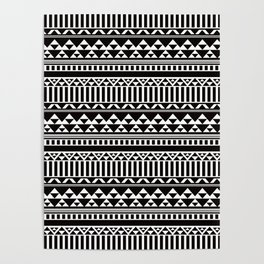 Mountain Stripe Kilim in Black + White Poster