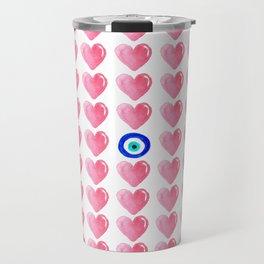 Pink Hearts & Evil Eye Watercolor Travel Mug