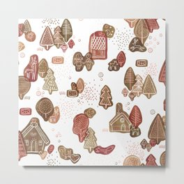 Hansel and Gretel Fairy Tale Gingerbread Pattern on White Metal Print