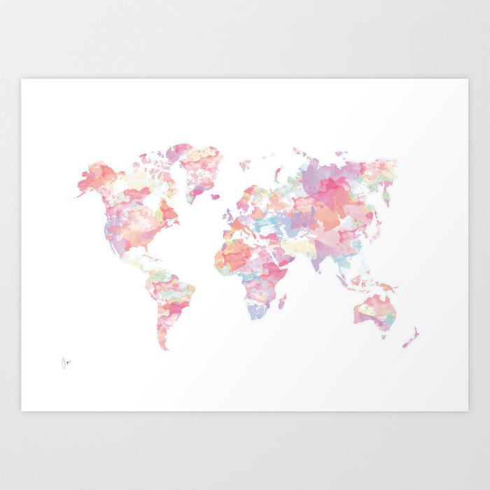 Watercolour world map pink art print by cloverchen society6 watercolour world map pink art print gumiabroncs Images