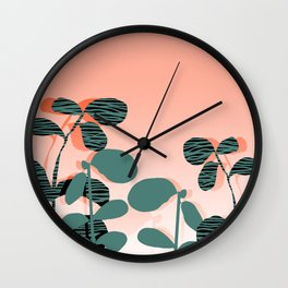 Later Days - indoor house plant ombre pink palm springs desert socal los angeles urban hipster retro Wall Clock