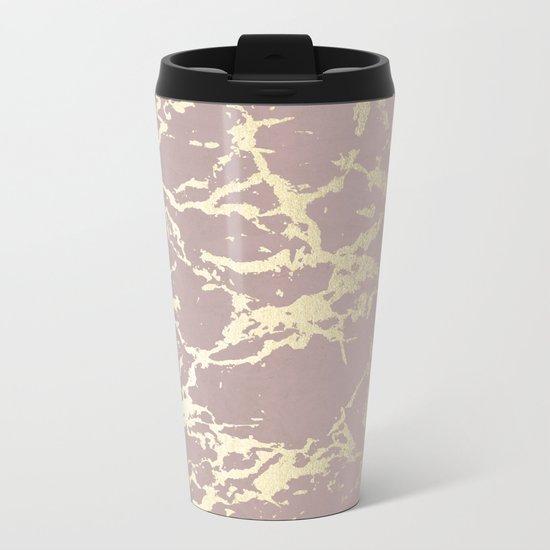 Simply Kintsugi Ceramic Gold on Clay Pink Metal Travel Mug