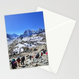 Trekking in Himalaya. Group of hikers  with backpacks   on the trek in Himalayas, trip  to the base  Stationery Cards