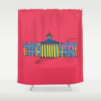 the national Shower Curtains featuring National gallery by PINT GRAPHICS