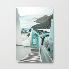 Stairway Greek Island Thira Aegean Sea Metal Print
