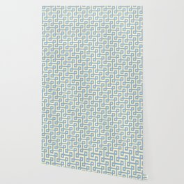 Blue & Yellow Greek Key Pattern Wallpaper