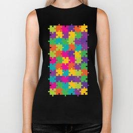 Colorful Jigsaw Puzzle Pattern Biker Tank