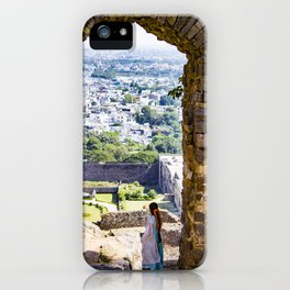 Indian Woman Looking at the City of Hyderabad, India from one of the Stone Arches of Golconda Fort iPhone Case