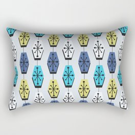 Mid Century Modern Hexagons Turquoise Rectangular Pillow