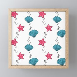 cute summer pattern with starfishes and seashells Framed Mini Art Print