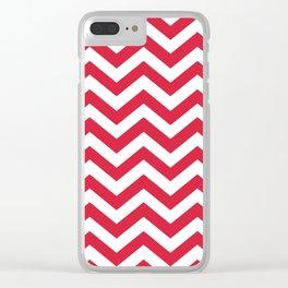 Red Chevron Pattern. Colorful zig zag stripe desig Clear iPhone Case