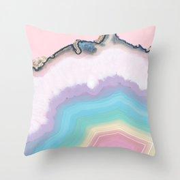 Rainbow Agate Slice Throw Pillow