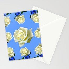 WHITE ROSES BLUE GARDEN DESIGN Stationery Cards