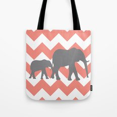 Chevron Elephants Tote Bag