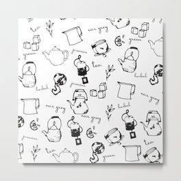 Tea Time Pattern Metal Print