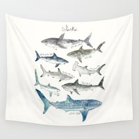 wildlife Wall Tapestries featuring Sharks by Amy Hamilton